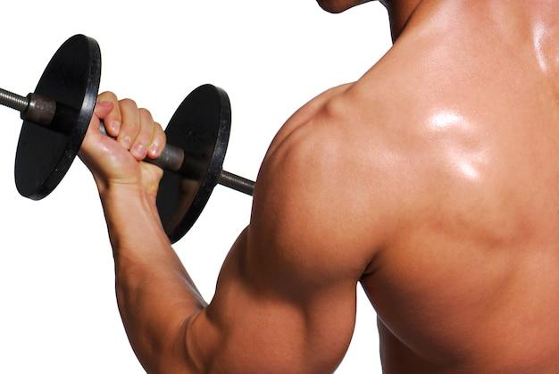 Bíceps. exercício esportivo para pessoas de sucesso.