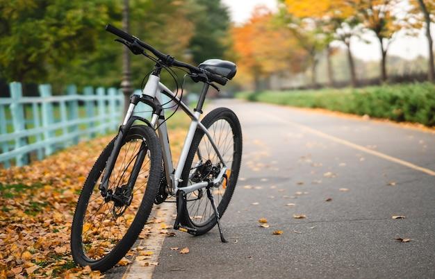 Bicicleta branca em pé no parque. aptidão matinal, solidão.
