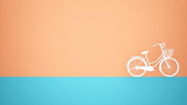 Bicicleta branca no piso azul e fundo da parede laranja