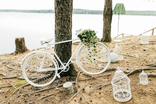 Bicicleta branca perto de árvore
