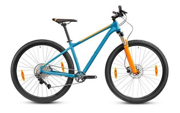 Bicicleta de montanha 29er azul isolada no fundo branco.
