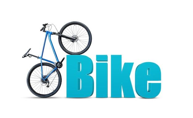 Bicicleta de montanha azul em pé perto da palavra bicicleta em estilo 3d em fundo branco. conceito de escolha de uma nova bicicleta.