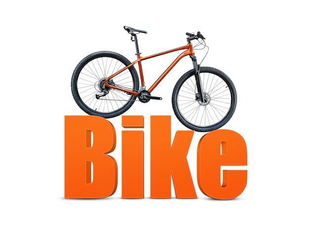 Bicicleta de montanha em pé na grande palavra laranja bicicleta em fundo branco.