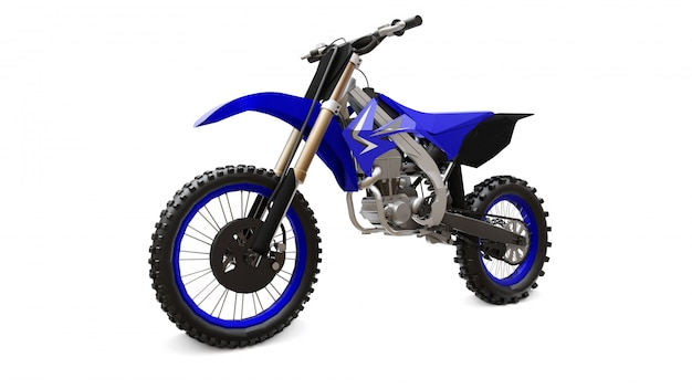 Bicicleta esporte azul e preto para cross-country em branco