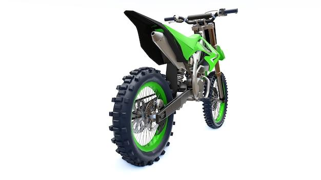Bicicleta esporte verde e preta para cross-country em um fundo branco. racing sportbike. bicicleta de sujeira de motocross supercross moderna. renderização 3d.