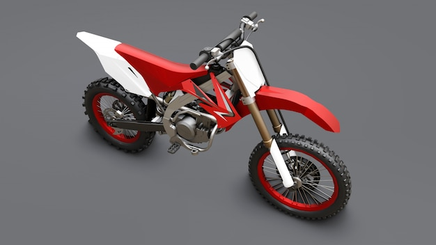 Bicicleta esporte vermelho e branco para cross-country em um fundo cinza. corrida sportbike. supercross moderno motocross dirt bike. renderização em 3d.