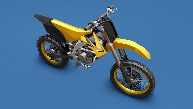 Bicicleta esportiva amarela para cross-country em uma superfície azul