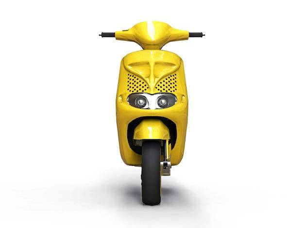 Bicicleta motorizada urbana moderna do amarelo em um fundo branco. ilustração 3d