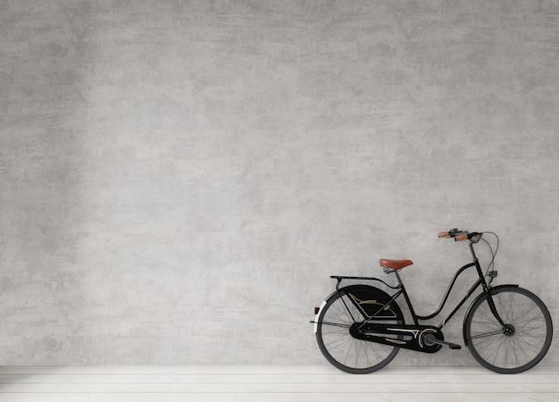 Bicicleta no muro de concreto, estilo minimalista de fundo, renderização em 3d