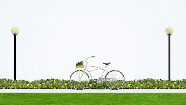 Bicicleta no parque - renderização em 3d