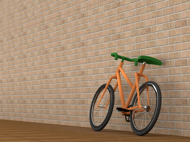 Bicicleta no quarto, renderização em 3d