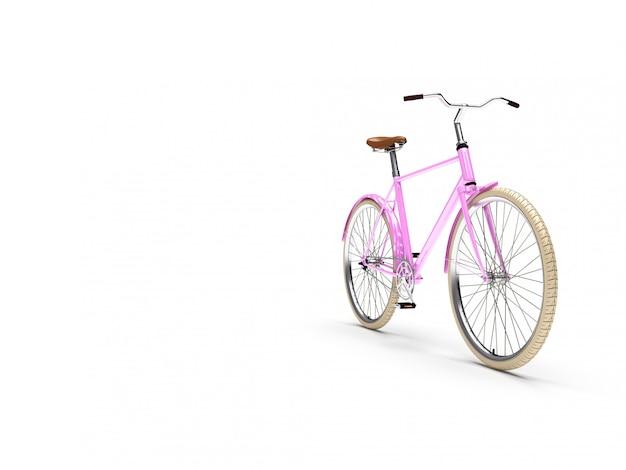 Bicicleta rosa vintage com pneus brancos