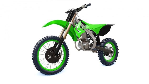 Bicicleta verde e preta do esporte para através dos campos em um fundo branco. corrida sportbike. supercross moderno motocross dirt bike