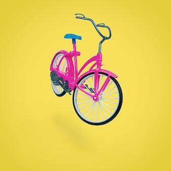 Bicicleta vermelha de brinquedo com um selim azul em uma superfície amarela