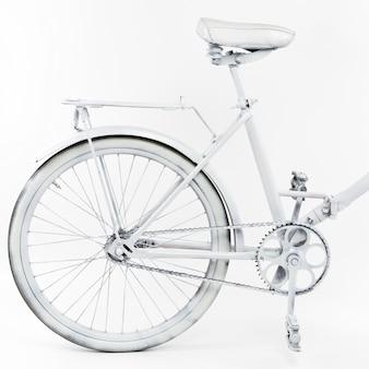 Bicicleta vintage branca sobre fundo branco