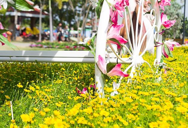 Bicicletas no jardim de flores
