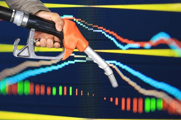 Bico da bomba de óleo e gráfico de ações
