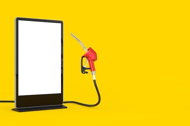 Bico de combustível da bomba de pistola de gasolina, distribuidor de posto de gasolina com suporte de exibição de tela lcd para feiras de negócios em branco como modelo para seu projeto em um fundo amarelo. renderização 3d
