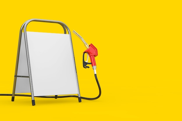 Bico de combustível da bomba de pistola de gasolina, distribuidor de posto de gasolina com suporte de promoção de publicidade em branco branco sobre um fundo amarelo. renderização 3d