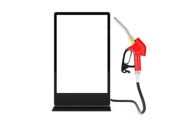 Bico de combustível de bomba de pistola de gasolina, distribuidor de posto de gasolina com suporte de exibição de tela lcd para feiras de negócios em branco como modelo para seu projeto em um fundo branco. renderização 3d