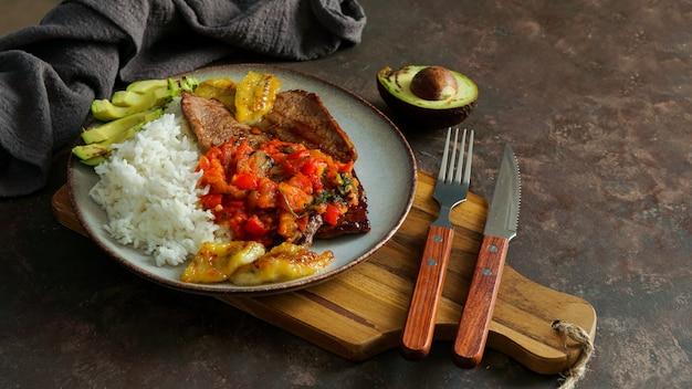 Bife com molho de tomate, arroz, abacate, banana frita