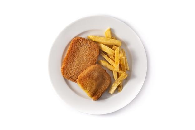 Bife san jacobo recheado com queijo e presunto isolado no branco