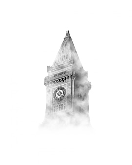 Big ben no céu com nuvens