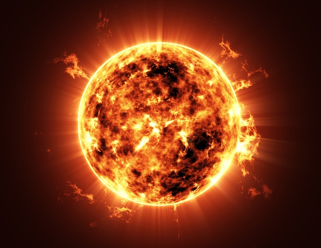 Big sun star no espaço no sistema solar Foto Premium