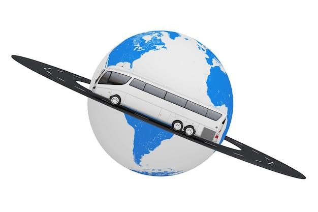 Big white coach tour bus ao longo da estrada ao redor do globo terrestre em um fundo branco. renderização 3d