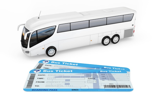 Big white coach tour bus com passagens de ônibus em um fundo branco. renderização 3d
