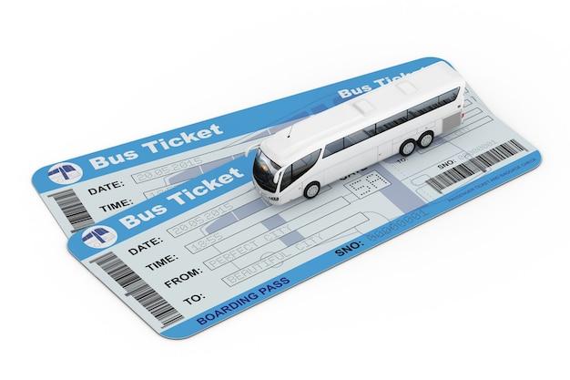 Big white coach tour bus sobre passagens de ônibus em um fundo branco. renderização 3d