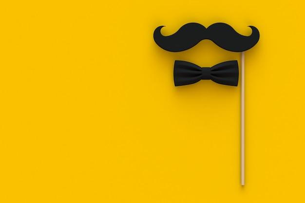 Bigode e gravata borboleta em amarelo