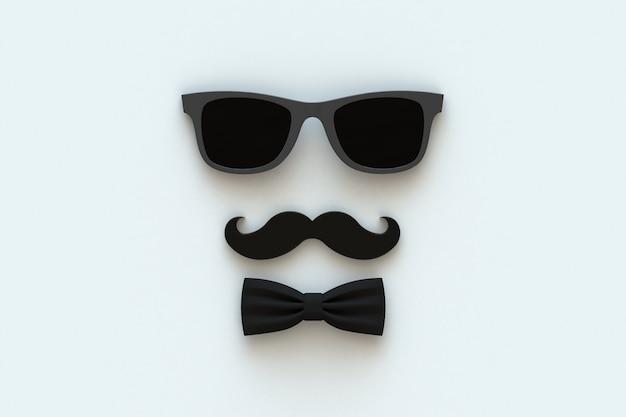Bigode e óculos em branco