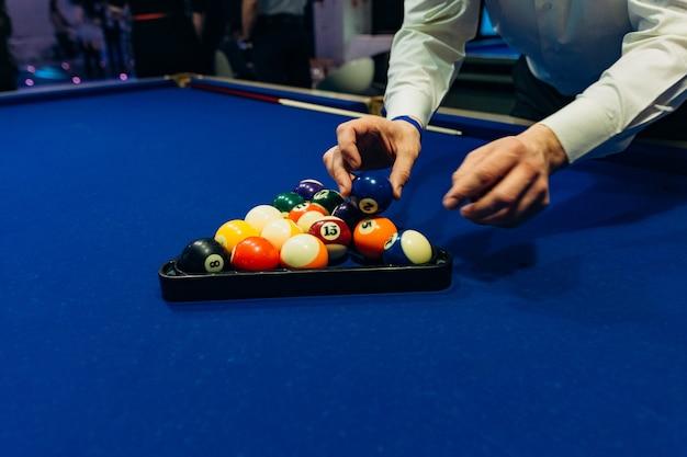 Bilhar azul mesa bolas sugestão jogo esporte