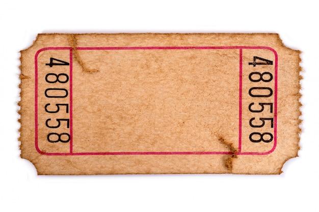 Bilhete de admissão em branco manchado e danificado