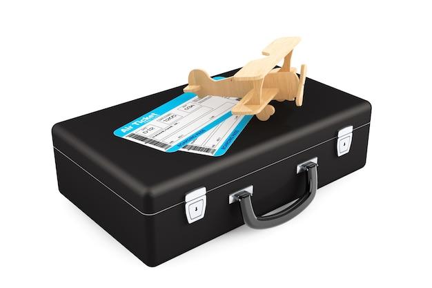 Bilhete do cartão de embarque da caixa, avião e companhia aérea em um fundo branco