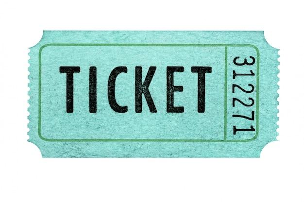 Bilhete verde velho da admissão isolado de encontro a um fundo branco.