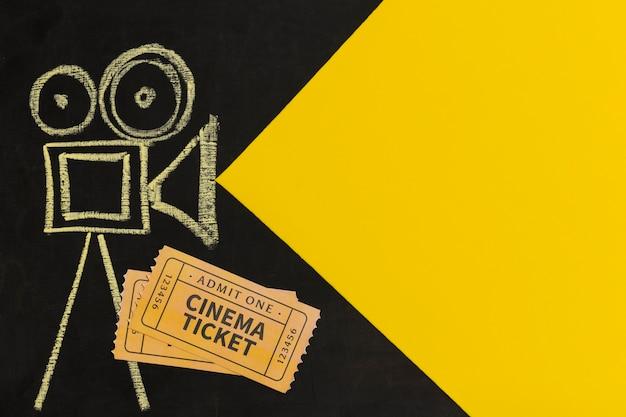 Bilhetes de cinema com vista superior