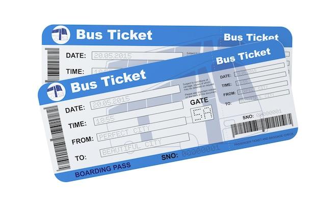 Bilhetes do cartão de embarque de ônibus em um fundo branco