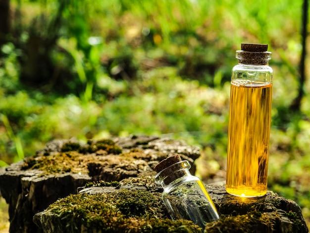 Bio medicina alternativa orgânica, fitoterapia., frascos de óleo essencial saudável ou infusão e ervas medicinais secas.