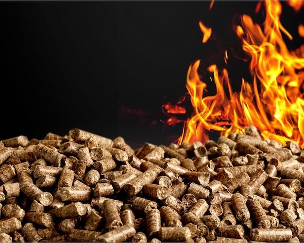Biomassa de pelotas - close-up no fundo