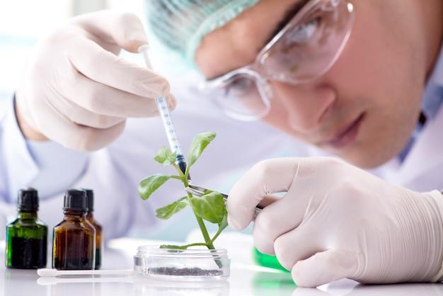 Biotecnologia com cientista em laboratório