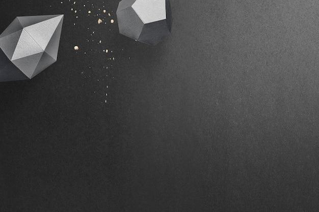 Bipirâmide hexagonal alongada cinza escuro 3d e dodecaedro pentágono cinza