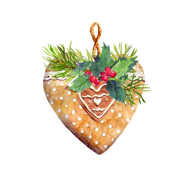 Biscoito de coração com fita de renda, ramo de árvore spruce, visco