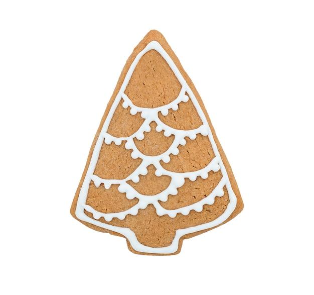 Biscoito de gengibre da árvore de natal isolado em um fundo branco