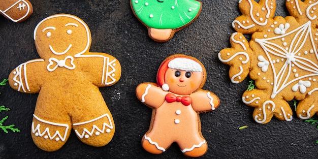 Biscoito de gengibre natal doce sobremesa presente ano novo pastelaria caseira biscoito fundo de comida