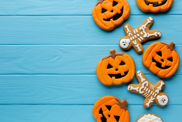 Biscoitos assustadores de abóbora de halloween