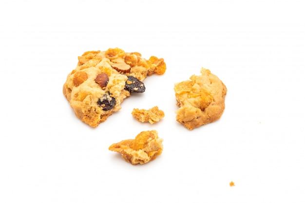 Biscoitos caseiros com amêndoas e passas de flocos de milho