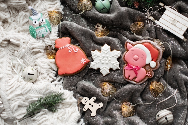 Biscoitos caseiros de gengibre de natal e decorações de natal