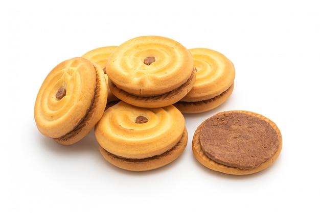 Biscoitos com creme de chocolate